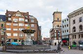 image of copenhagen  - square with fountains in the Copenhagen center Denmark - JPG