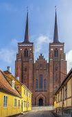 stock photo of gothic  - Roskilde Cathedral is a cathedral of the Lutheran Church of Denmark - JPG