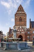 stock photo of gothic  - Town hal in Roskilde is 19th century building in Neo - JPG
