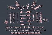 image of divider  - Hand drawn vintage arrows feathers dividers and floral elements vector illustration - JPG