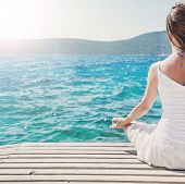 foto of serenity  - serenity and yoga practicing at the sea - JPG