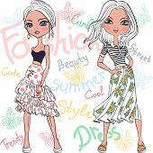 stock photo of jeans skirt  - set beautiful fashion girls top model in summer dresses - JPG