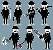 stock photo of serial killer  - Set of 7 illustrations with violent hipster character - JPG