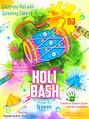 picture of club party  - illustration of DJ party banner for Holi celebration - JPG
