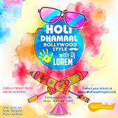 image of indian culture  - illustration of DJ party banner for Holi celebration - JPG