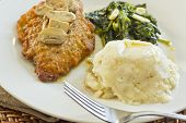 image of marsala  - Crispy breaded chicken marsala with mashed potatoes and broccoli rabe with garlic - JPG