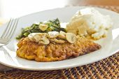 pic of marsala  - Crispy breaded chicken marsala with mashed potatoes and broccoli rabe with garlic - JPG