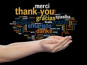 picture of appreciation  - Concept or conceptual abstract thank you word cloud held in hands different language - JPG