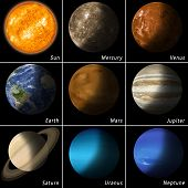 picture of earth mars jupiter saturn uranus  - all best known solar system planets and the main star sun - JPG