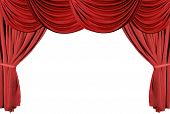 image of curtains stage  - isolated red draped stage theater curtains background - JPG