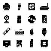 stock photo of keyboard  - Computer parts icons black set with monitor modem keyboard isolated vector illustration - JPG
