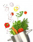 stock photo of vegetable soup  - Cooking pot with fresh vegetable ingredients isolated on white - JPG