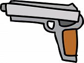 stock photo of pistols  - Single hand drawn cartoon automatic cocking pistol - JPG