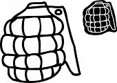 picture of grenades  - Single outlined cartoon grenade over white background - JPG