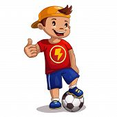 foto of ball cap  - Little cartoon boy with ball - JPG