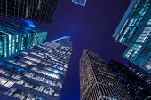 stock photo of skyscrapers  - Famous skyscrapers of New York at night - JPG