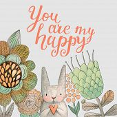foto of easter card  - Staggering card with cute rabbit in summer flowers - JPG