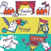 image of stage theater  - Theatre stage performance horizontal banner set with hand drawn elements vector illustration - JPG