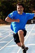 Happy man running poster