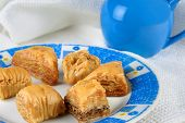 stock photo of baklava  - Variety of Turkish baklava on a plate - JPG