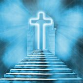 pic of stairway to heaven  - Glowing holy cross and staircase leading to heaven or hell - JPG