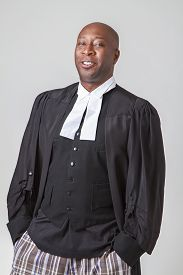 picture of toga  - forty something bald african american wearing a canadian lawyer toga - JPG