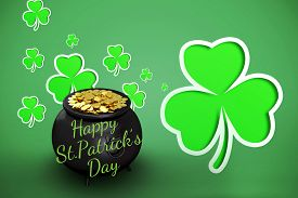 picture of st patty  - happy st patricks day against green shamrocks on green background - JPG