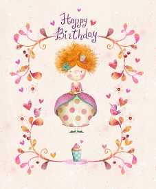 picture of princess crown  - Awesome Happy birthday card in cartoon style - JPG