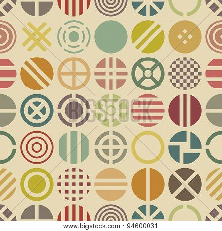 Geometric seamless pattern with colorful round shapes.