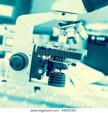 microscope in  medical laboratory