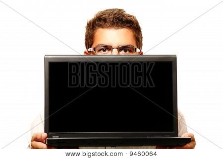 Businessman Holding A Computer