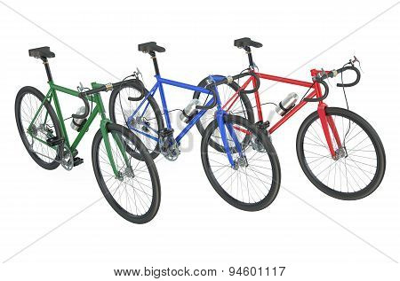 Three Colored Bicycles Closeup