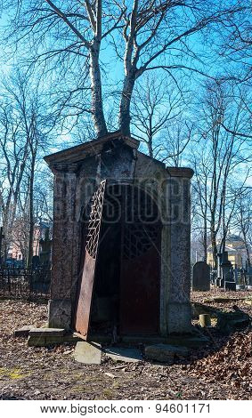 Old Abandoned Crypt With Brocken Door