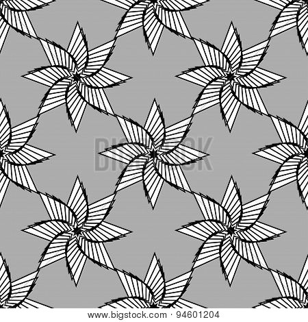 Geometrical Ornamental Star, Symbol Of The Sun. Islan Star. Seamless Pattern. Monochrome Vector Illu