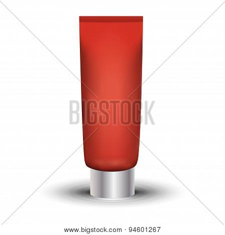 Tube Of Cream Or Gel Red Clean. Ready For Your Design. Product Packing Vector Eps10