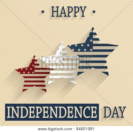 Happy Independence Day. 4th Of July. Red, white and blue stars