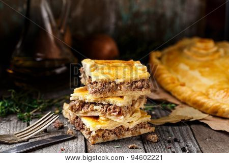 Homemade pie stuffed with beef
