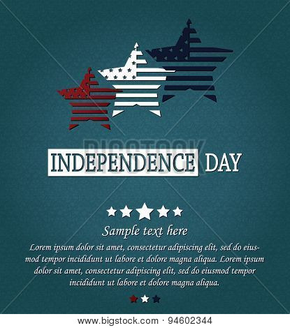 Independence Day card. 4th Of July. Red, white and blue stars on blue textured background