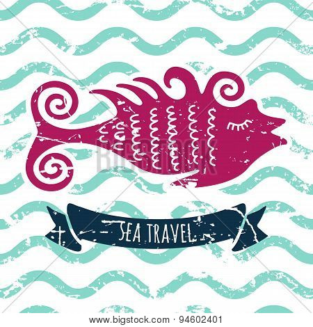 Vector Marine Background. Cute Pink Fish, Ribbon, Letters On Seamless Water Wave Pattern.