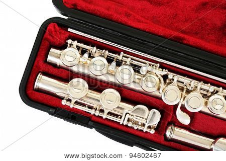 Flute in case close up