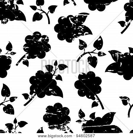 Beautiful Vector Seamless Pattern With Decorative Rose Flowers And Leaves. Black And White Grunge Fl