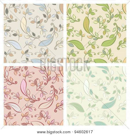 Set Of Vector Seamless Pattern With Pastel Decorative Leaves. Vector Nature Spring, Summer Or Autumn