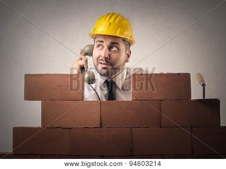 Man building a wall