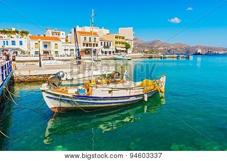 Greek Boat At Agios Nikolaos Port