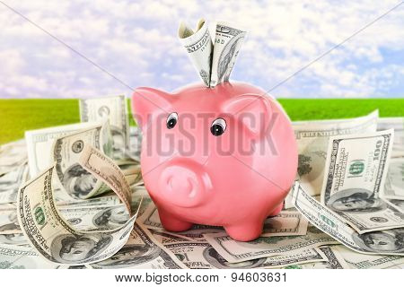 Piggy bank on pile of dollars on sky background