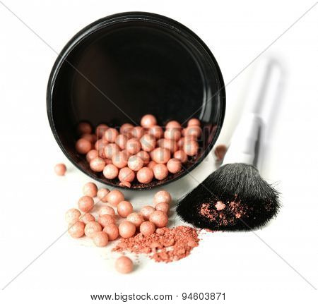 Jar with cosmetic powder balls and makeup brush, isolated on white