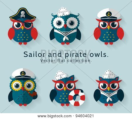 Sailor And Pirate Owl. Vector Set.