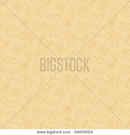 Beach Seamless Pattern. Vector Background.