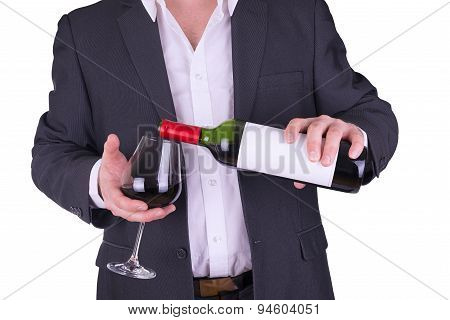 Elegant Man Drinking Red Wine.