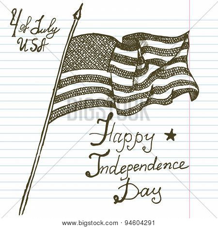 Hand Drawn Sketch American Flag, Usa Independence Day, Vector Illustration